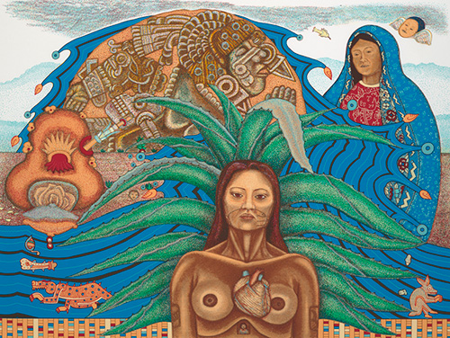 """Cihuateteo con Coyolxauhqui y Guadalupe"" 1996"