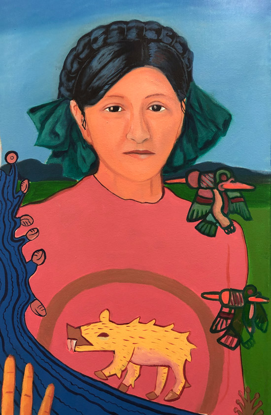 """Detail of Mujeres de Nepantla: Grandma Andrea"" 1995"